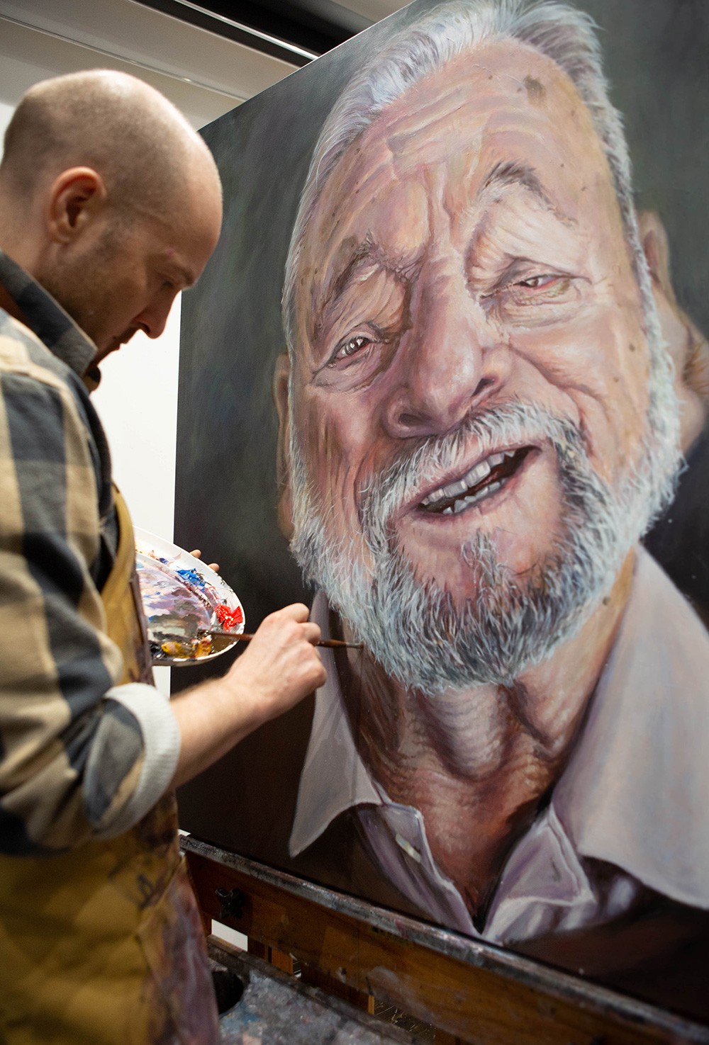 Derren Brown painting Stephen Sondheim portrait