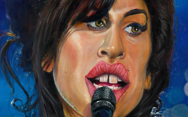 Close-up of Amy Winehouse portrait by Derren Brown