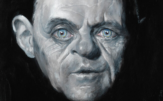 Close-up of Anthony Hopkins portrait by Derren Brown