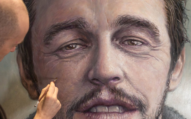 Derren Brown painting James Franco portrait