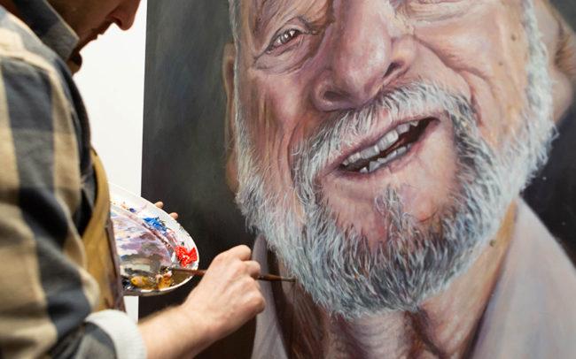 Derren Brown painting Stephen Sondheim portrait