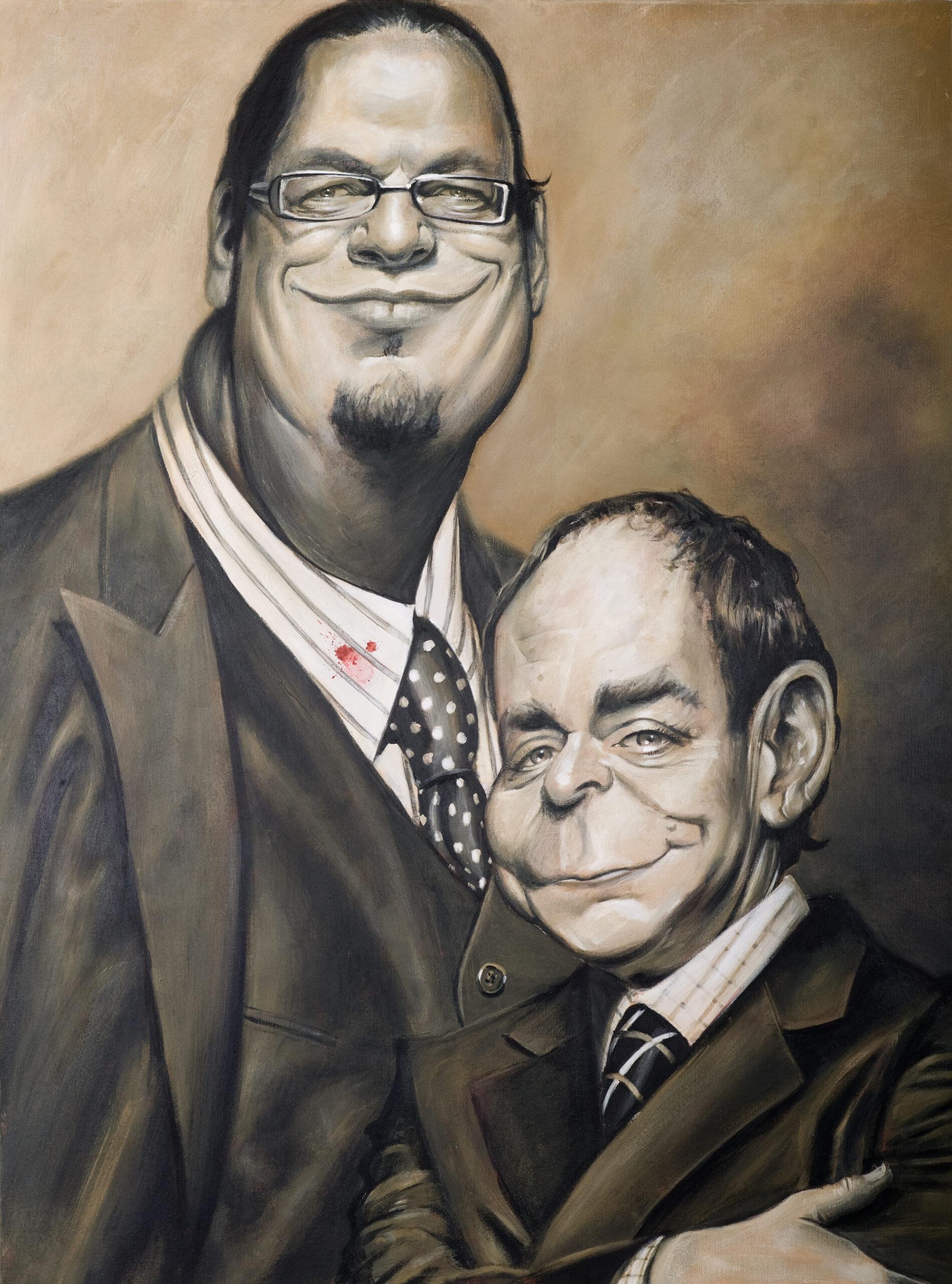 Penn & Teller portrait by Derren Brown