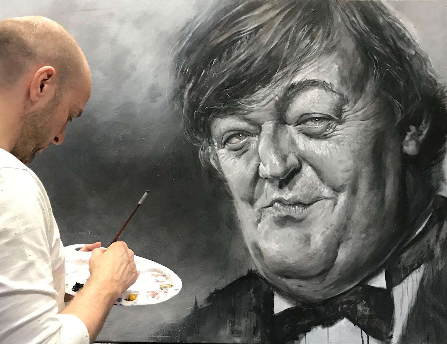 Derren Brown painting Stephen Fry
