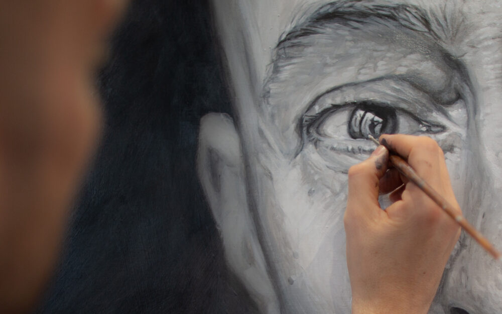 Derren Brown adds detail to a recent self portrait
