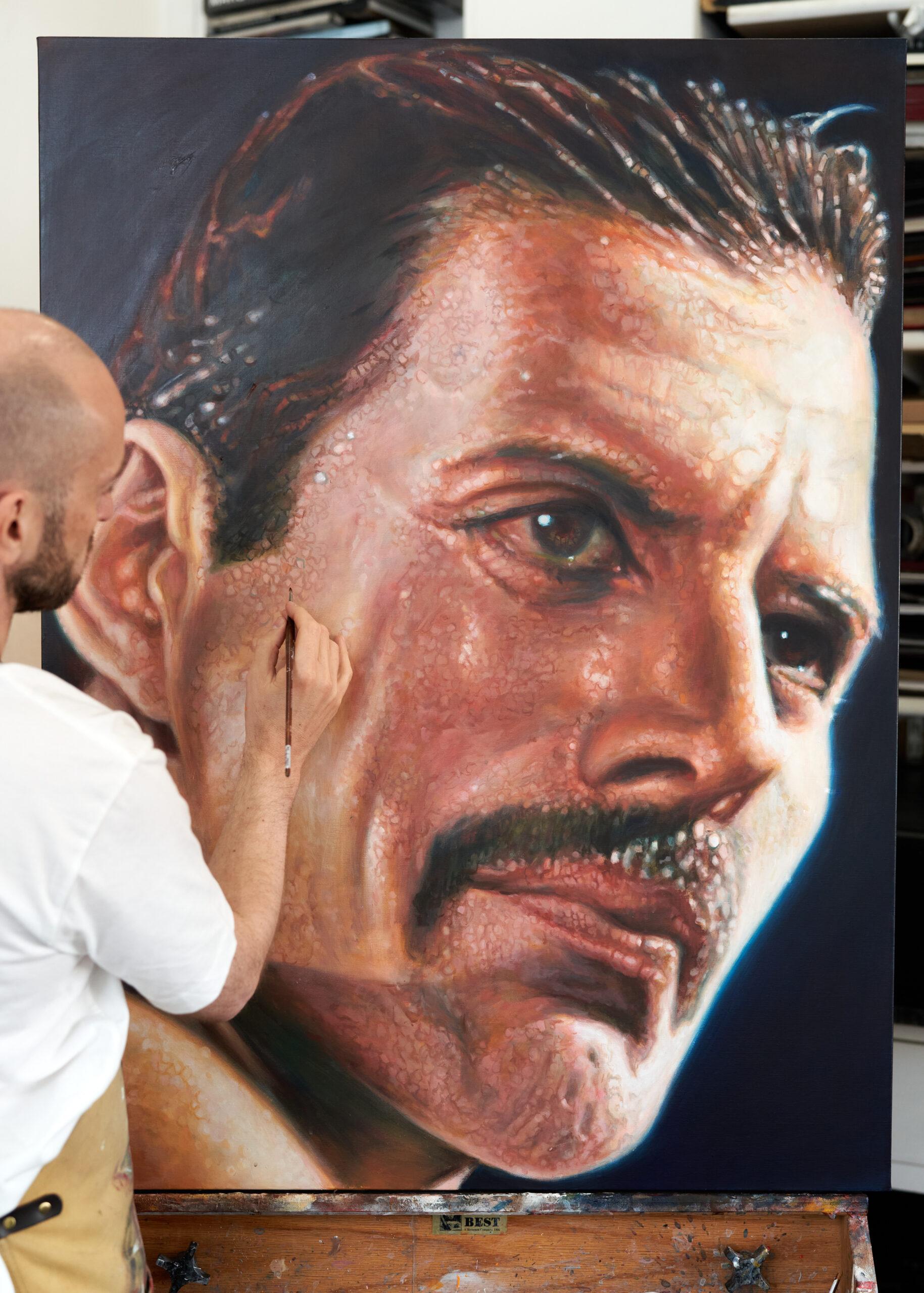 Derren Brown painting Freddie Mercury